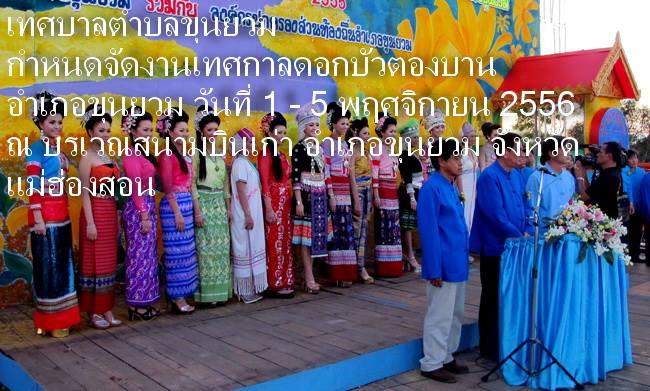 เทศกาลดอกบัวตองบาน รื่นเริงเทศกาลดอกบัวตองบาน ประจำปี พ.ศ. 2556 ระหว่างวันที่ 1-5 พฤศจิกายน 2556 ณ อำเภอขุนยวม จังหวัดแม่ฮ่องสอน