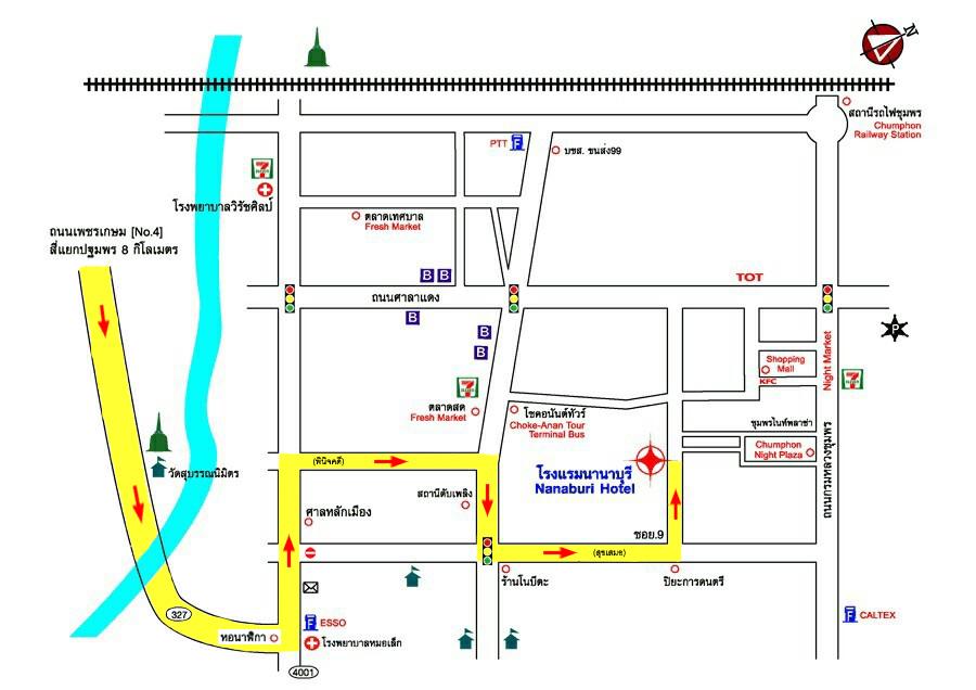 แผนที่โรงแรมนานาบุรี (Nanaburi Hotel) จังหวัดชุมพร