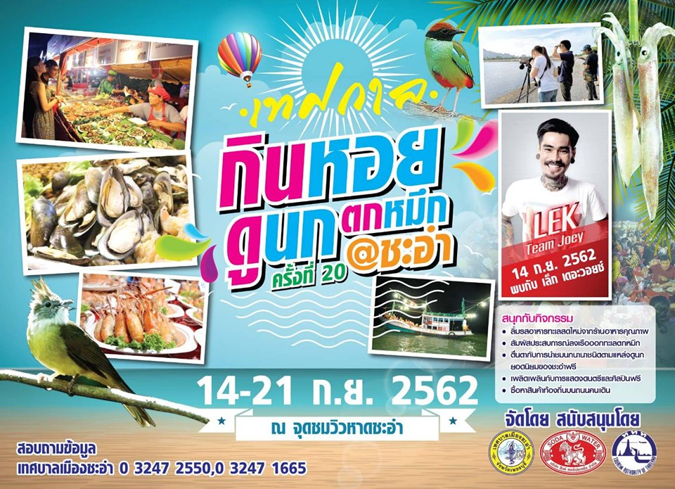 เทศกาลกินหอย ดูนก ตกหมึก ชะอำ ครั้งที่ 20 วันที่ 14-21 กันยายน 2562 ณ จุดชมวิวชายหาดชะอำ จังหวัดเพชรบุรี